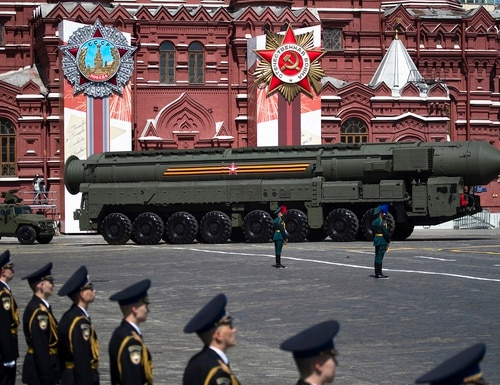 Russian Army RS-24 Yars ballistic missile makes its way through the Red Square during the Victory Day military parade marking the 75th anniversary of the Nazi defeat in WWII, in Moscow on June 24, 2020. (Pavel Golovkin/Pool via AP)