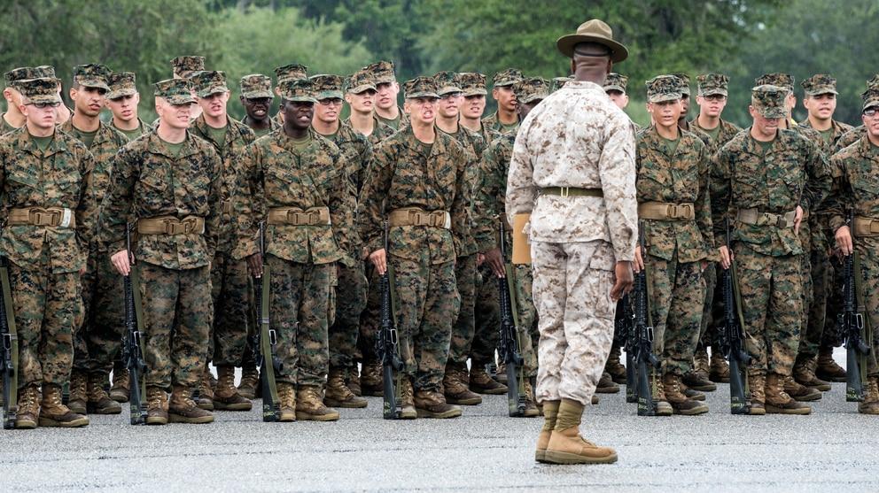 Recruits undergo basic training at Marine Corps Recruit Depot Parris Island, South Carolina.
