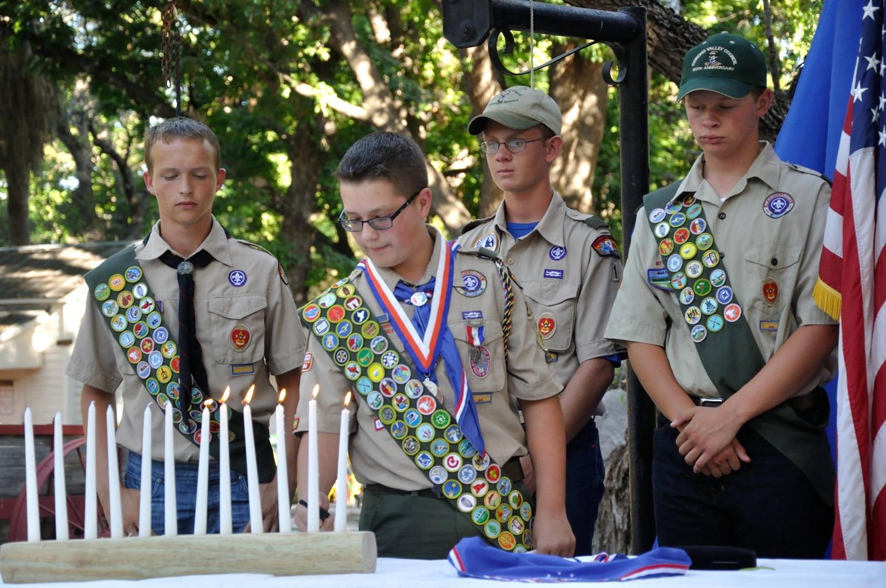 Benjamin Rawald commences an Eagle Scout ceremony at the Whitehead Museum in Del Rio, Texas, Aug. 7, 2016. One of his biggest achievements, finishing the tasks required to receive his Boy Scout's exploring merit badge, means Rawald has completed and attained every possible Boy Scout badge currently available. (Air Force)