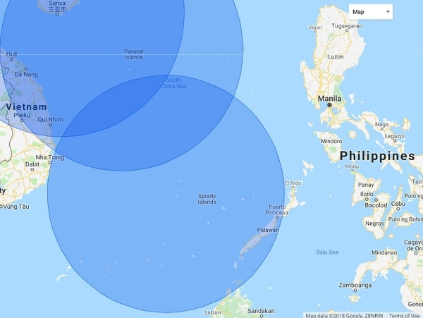 The range of the YJ-12 supersonic anti-ship missile. (Google)