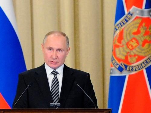 Russian President Vladimir Putin speaks during a meeting of the Federal Security Service (FSB) board in Moscow, Feb. 24, 2021. (Alexei Druzhinin/Sputnik, Kremlin Pool Photo via AP)