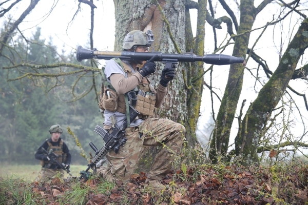A U.S. Soldier of 1st Battalion, 4th Infantry Regiment prepares to fire a rocket-propelled grenade during exercise Combined Resolve III at the Joint Multinational Readiness Center in Hohenfels, Germany, Nov. 6, 2014. Combined Resolve III is a multinational exercise, which includes more than 4,000 participants from NATO and partner nations, and is designed to provide a complex training scenario that focuses on multinational unified land operations and reinforces the U.S. commitment to NATO and Europe. (U.S. Army photo by Spc. Brian Chaney/ Released)