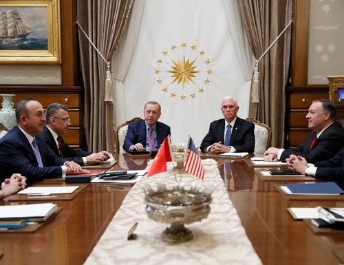 Vice President Mike Pence meets with Turkish President Recep Tayyip Erdogan at the Presidential Palace for talks on the Kurds and Syria, Thursday, Oct. 17, 2019, in Ankara, Turkey. Secretary of State Mike Pompeo and U.S. National Security Adviser Robert O'Brien, right, Turkish VP Fuat Oktay and Turkish Foreign Minister Mevlüt Çavuşoğlu, are left. (Jacquelyn Martin/AP)