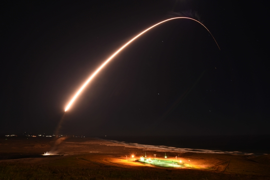 An Air Force Global Strike Command unarmed Minuteman III intercontinental ballistic missile launches during an operation test at 11:49 p.m. PT Feb. 23, 2021, at Vandenberg Air Force Base, Calif. (U.S. Space Force photo by Brittany E. N. Murphy)