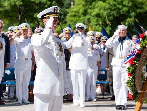 Chief of Naval Operations Adm. John Richardson salutes a wreath at the U.S. Navy Memorial at the Battle of Midway Commemoration Day ceremony. (Mass Communication Specialist 2nd Class Jason Amadi/Navy)