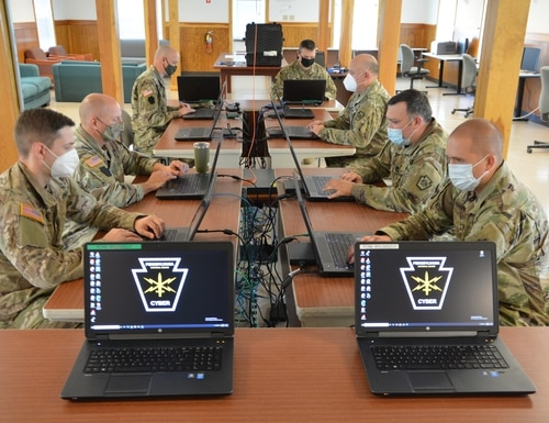 National Guard soldiers participate in Cyber Shield 20 at Fort Indiantown Gap, Pennsylvania, Sept. 20, 2020. The exercise tested soldiers' network defense skills. (Lt. Col. Angela King-Sweigart/Army)