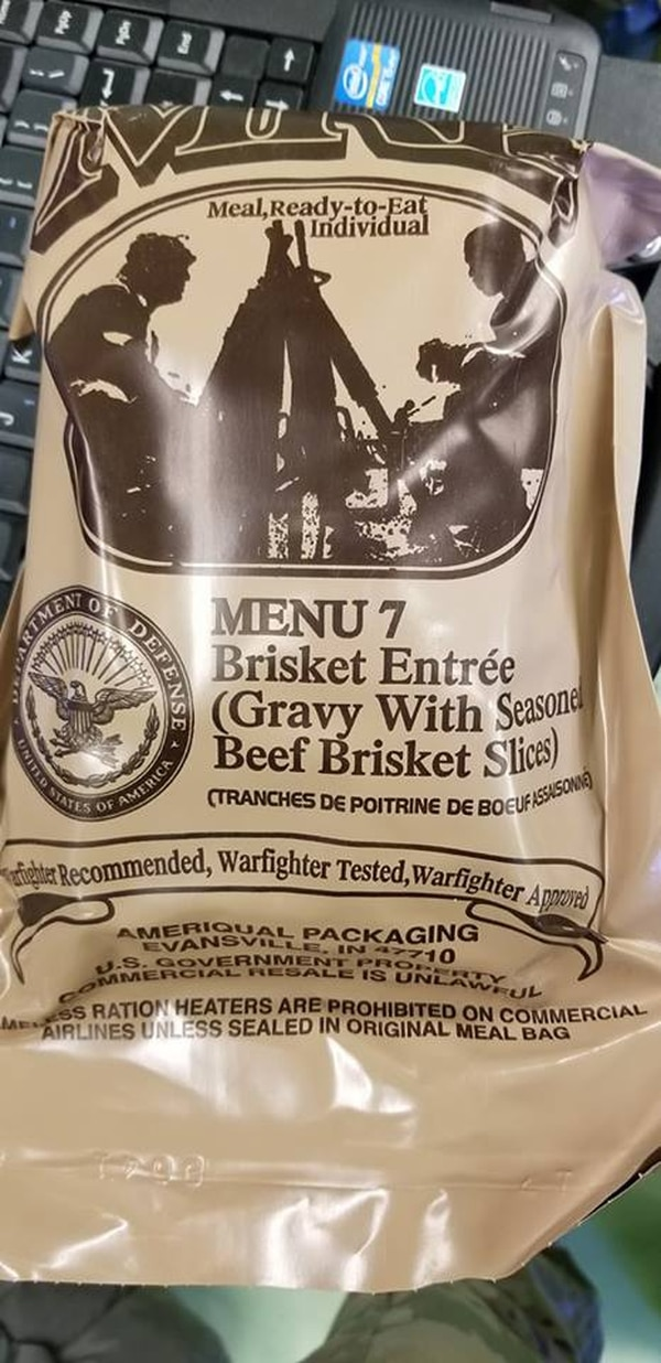 A warrant officer posted the package to a BBQ Facebook group, ready for some friendly trash talk about eating bagged brisket, but the post began circulating for an entirely different reason. (D.J. Kremer/Army via Reddit)