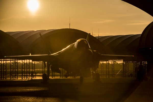 The sun rises behind an F-35A Aug. 2, 2016, at Eglin Air Force Base, Fla. The F-35A is the latest deployable fifth generation aircraft capable of providing air superiority, interdiction, suppression of enemy air defenses and close air support as well as great command and control functions through fused sensors, and will provide pilots with unprecedented situational awareness of the battlespace. (U.S. Air Force photo by Senior Airman Stormy Archer)