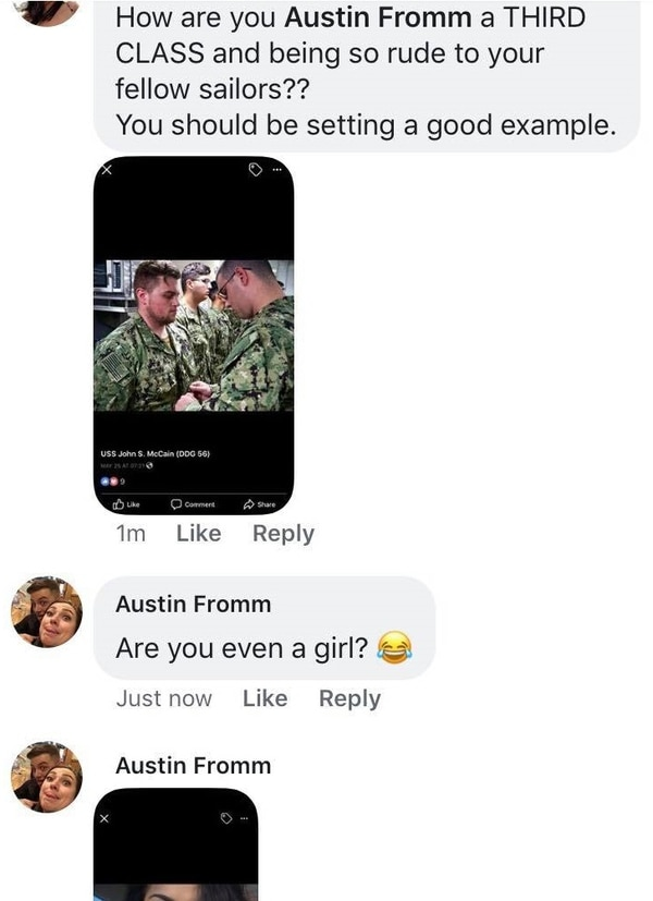Another sailor, Austin Fromm, joined in the fray with degrading comments to a female sailor. (Screenshot courtesy of sailor)
