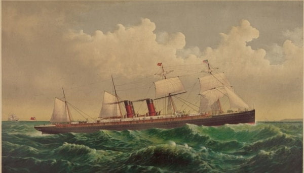 The Steamship Oregon, of the Cunard Line, between New York and Liverpool via Queenstown, Currier & Ives, 1884. (Library of Congress)