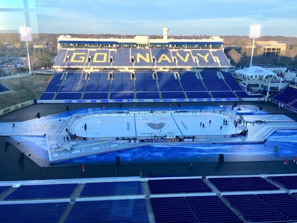 The Naval Academy was the first service academy to host an outdoor NHL game. Air Force Academy's Falcon Field will host a Colorado Avalanche game in February 2020. (J.D. Simkins)