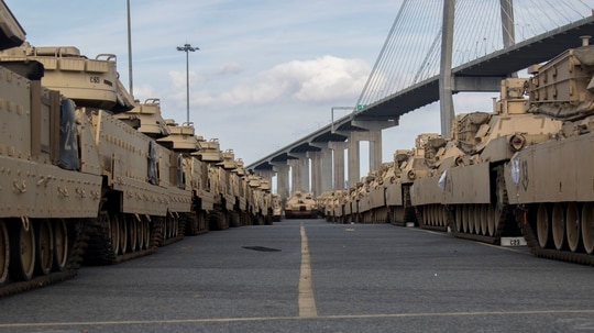 M1 Abrams Tanks stand ready prior to being loaded onto the American Roll-On Roll-Off Carrier Endurance in 2020 in Savannah, Ga., for DEFENDER-Europe 20. (Pfc. Carlos Cuebas Fantauzzi/U.S. Army)