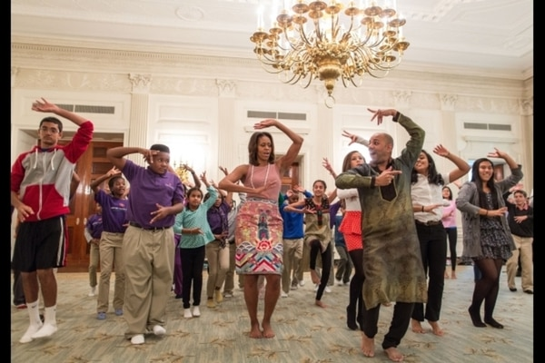 Former First Lady Michelle Obama joins students for a Bollywood Dance Clinic in the State Dining Room of the White House on Nov. 5, 2013. (Official White House Photo by Chuck Kennedy)