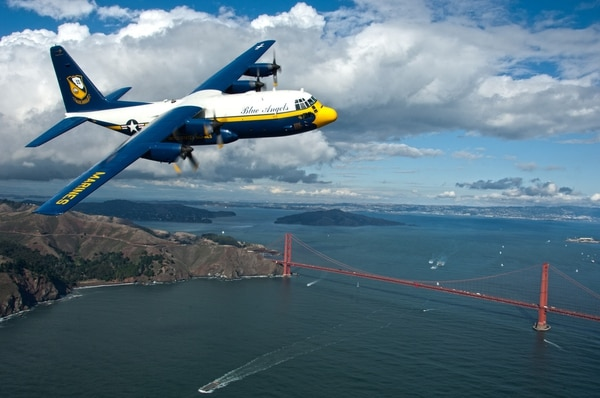 Fat Albert, the C-130 Hercules assigned to the U.S. Navy Flight Demonstration Squadron, the Blue Angels, flies over San Francisco in preparation for an air show scheduled during San Francisco Fleet Week 2011 on Oct. 6, 2011. (MC3 Andrew Johnson/Navy)