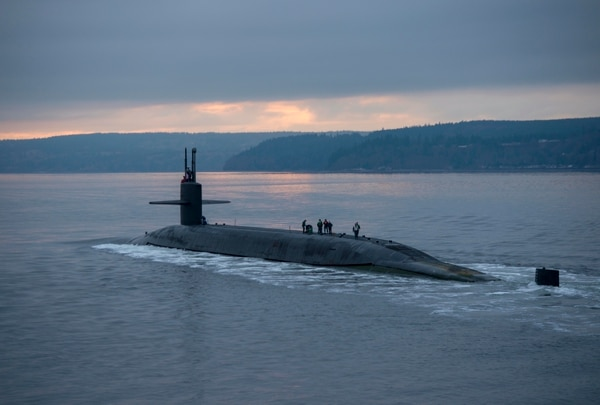 The Ohio-class ballistic missile submarine Pennsylvania transits the Hood Canal on Dec. 27, 2017. Replacing the Ohio class will hamper the Navy's ability to grow unless it gets more of the budget, according to Chief of Naval Operations Adm. Michael Gilday. (Petty Officer 1st Class Amanda Gray/U.S. Navy)