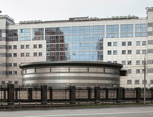 This July 14, 2018 file photo shows the building of the Main Directorate of the General Staff of the Armed Forces of Russia, also know as Russian military intelligence service in Moscow. (Pavel Golovkin/AP)