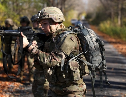 The Army is fielding a new body armor system, including the Modular Scalable Vest. The MSV and other items in the system have purpose-built design features for female body types. Soldiers here with 10th Mountain Division tried out the gear in 2019. (David Jordan/Army)