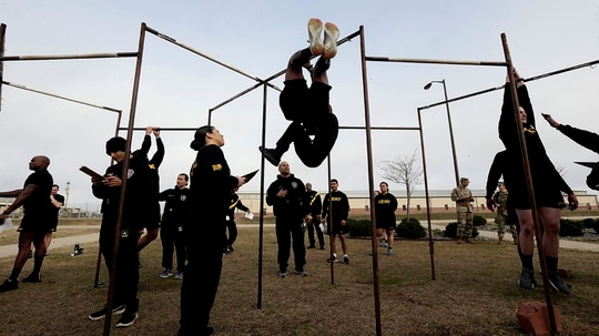 Soldiers training to serve as instructors participate in the new Army combat fitness test at Fort Bragg, N.C. (Gerry Broome/AP)