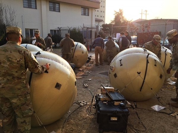 Fielded in conjunction with the U.S. Army Communications-Electronics Command, the inflatable satellite antenna is easier to move and set up, and operates on commercial and military frequency bands, reducing signal-jamming threats. (Photo courtesy of PEO EIS via Army)