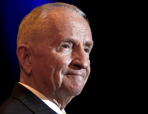 In this April 20, 2019, file photo, Ross Perot listens to a reporter's question in Kansas City, Mo. Perot, the Texas billionaire who twice ran for president, has died, a family spokesperson said Tuesday, July 9, 2019. He was 89. (Ed Zurga/AP)