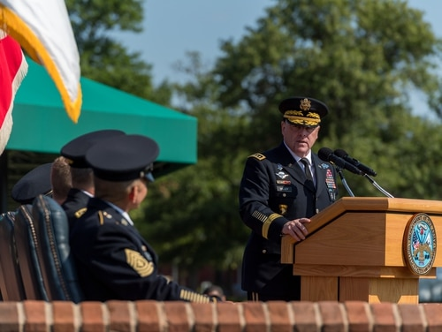 Outgoing Army Chief of Staff Gen. Mark A. Milley speaks during the change of responsibility ceremony in Arlington, Va., Aug. 9, 2019. (Spc. Zachery Perkins/Army)