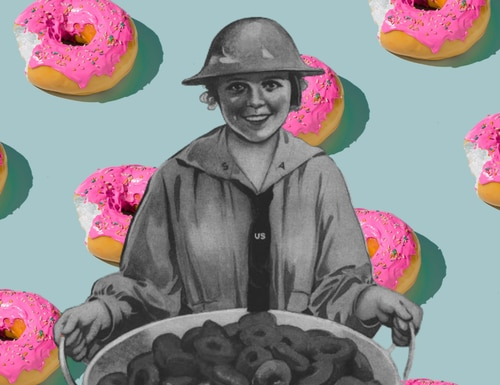 The Salvation Army brought comfort to WWI soldiers in the form of doughnuts. (Composite via Canva and the World War I Centennial Commission)