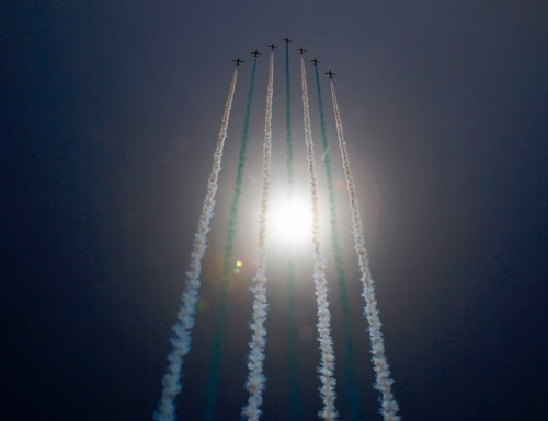 Planes take part in a flyover during a joint Sudan and Saudi Arabia drill on April 9, 2017. (Ashraf Shazly/AFP via Getty Images)