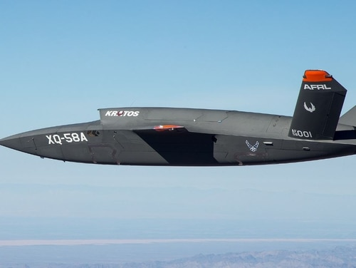 The XQ-58A Valkyrie demonstrator, a long-range, high subsonic unmanned air vehicle completed its inaugural flight March 5, 2019 at Yuma Proving Grounds, Arizona. (DoD)