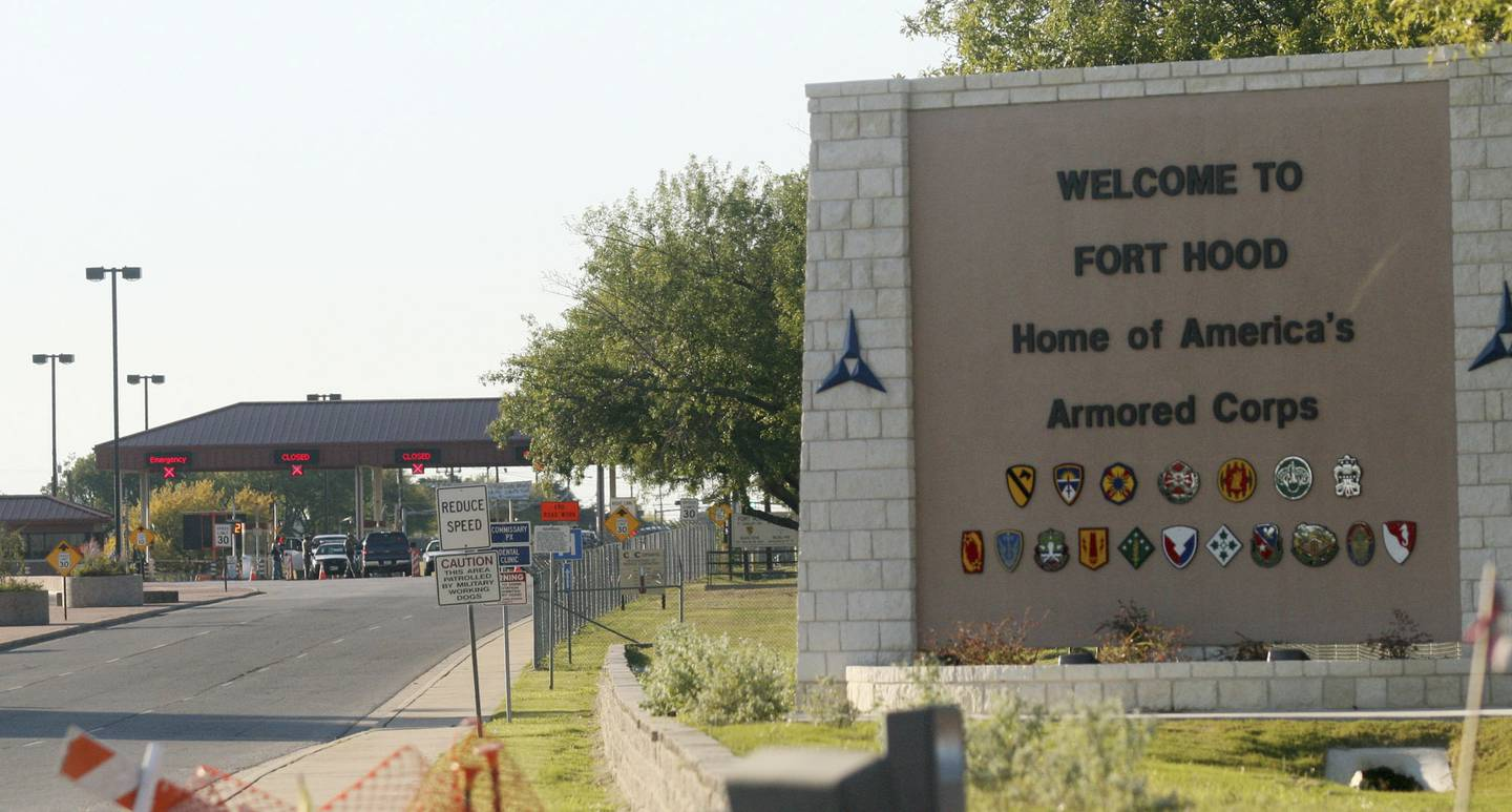 This Nov. 5, 2009, file photo shows the entrance to Fort Hood Army Base in Fort Hood, Texas, near Killeen, Texas.