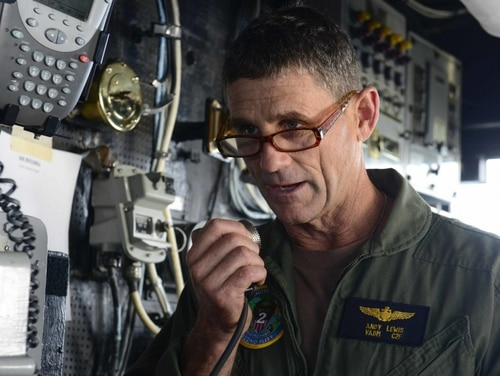 Vice Adm. Andrew Lewis, the commander of the Navy's 2nd Fleet, became the latest Navy leader to warn of Russian sub activity in the Atlantic during a think tank event this week. He is shown here aboard the guided-missile cruiser Normandy in September. (Navy)