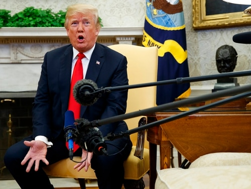 President Donald Trump speaks during a meeting with NATO Secretary General Jens Stoltenberg in the Oval Office of the White House, Thursday, May 17, 2018, in Washington. (Evan Vucci/AP)