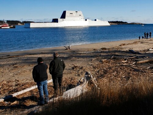 The future USS Michael Monsoor heads out to sea for trials, Monday, Dec. 4, 2017, in Phippsburg, Maine. The ship is the second in the stealthy Zumwalt class of destroyers. (Robert F. Bukaty/AP)