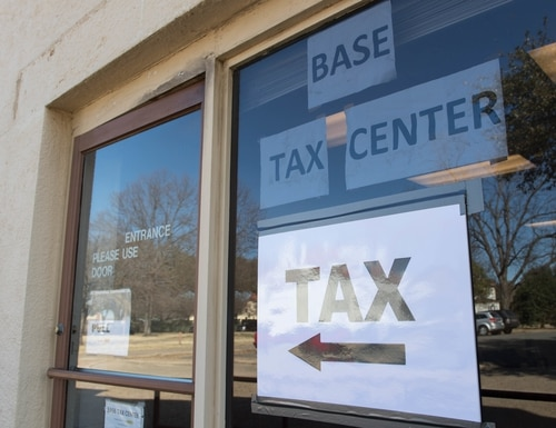 Many military bases have tax centers where service members can have their tax returns for free, prepared by a trained, certified volunteer. (Airman 1st Class Sydney Campbell/Air Force)