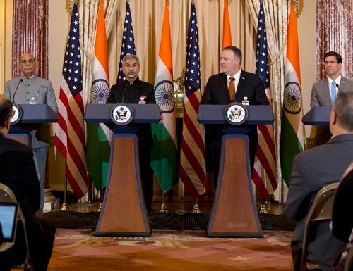 U.S. Secretary of State Mike Pompeo, second from right, and Defense Secretary Mark Esper, right, accompanied by Indian External Affairs Minister S. Jaishankar, second from left, and Defence Minister Shri Rajnath Singh, left, during a news conference after a bilateral meeting in Washington on Dec.18, 2019. (Jose Luis Magana/AP)