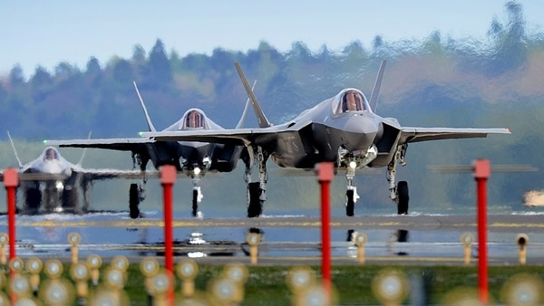 F-35A fighters from the 34th Fighter Squadron at Hill Air Force Base, Utah, land at Royal Air Force Lakenheath, England. (Tech. Sgt. Matthew Plew/U.S. Air Force)