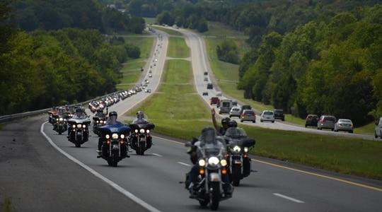 Participants in the 2016 American Legion Legacy Run ride through Alabama. (Lucas Carter/American Legion)