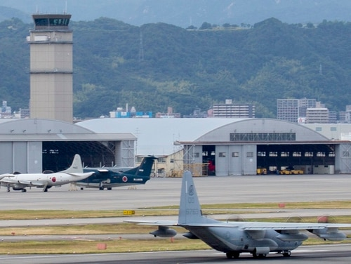 A Marine Corps KC-130J Hercules with Marine Aerial Refueler Transport Squadron (VMGR) 152 prepares to take off during an expeditionary runway training exercise at Marine Corps Air Station Iwakuni, Japan, June 21, 2017. (Lance Cpl. Mason Roy/Marine Corps)