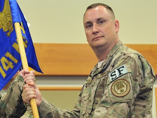 Lt. Col. Raymond Fortner accepts command of the 741st Missile Security Forces Squadron in July 2017. He was relieved of command Nov. 13 after an investigation found he had established and maintained an unhealthy command climate. (John Turner/Air Force)