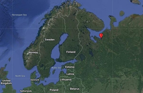 Severodvinsk, the White Sea port where radiation was detected shortly after the explosion. (U.S. Geological Survey)