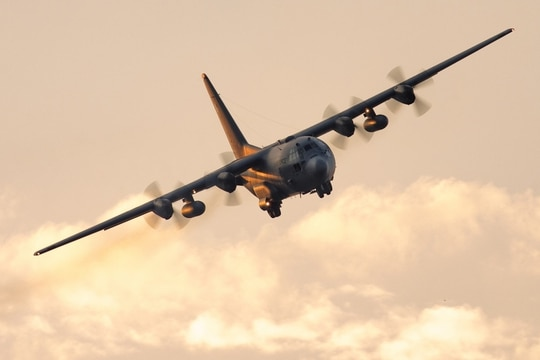A C-130 Hercules assigned to the 36th Airlift Squadron approaches Yokota Air Base, Japan, Aug. 24, 2017. (Yasuo Osakabe/Air Force)