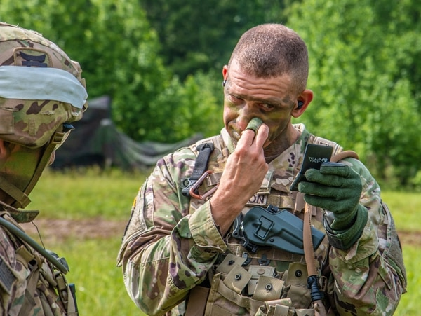 Grinston has earned the Ranger tab, Master Parachutist badge, Air Assault badge, Drill Sergeant Identification badge and the Combat Action Badge. (Army)
