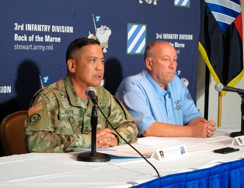 Army Maj. Gen. Antonio Aguto, left, and Army accident investigator Michael Barksdale hold a news conference, Monday, Oct. 21, 2019, at Fort Stewart, Ga., about a training accident that killed three soldiers and injured three others. (Russ Bynum/AP)