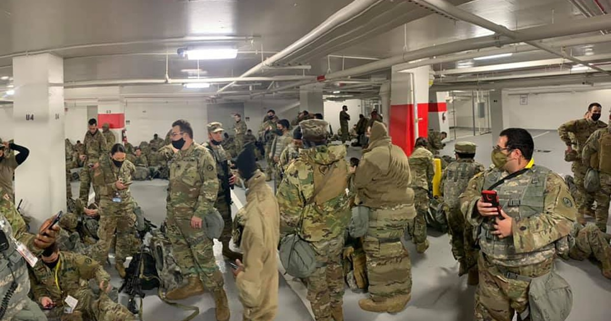 National Guard troops, moved to a cramped parking garage, complain of ingratitude after being ordered to bug out of Capitol building they came to protect