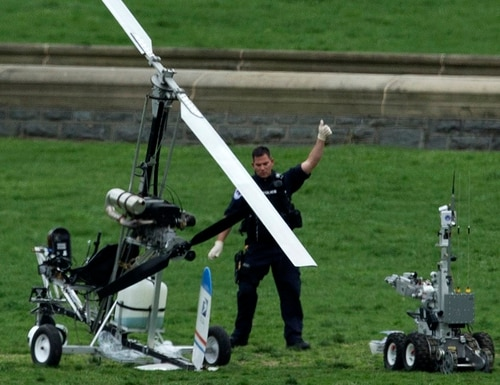 A small helicopter sits on the lawn of the U.S. Capitol on April 15, 2015. NORAD says its new artificial intelligence system would have detected the potential threat. (Manuel Balce Ceneta/AP)