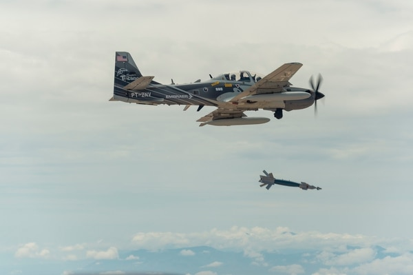A Super Tucano A-29 experimental aircraft flies over White Sands Missile Range. The A-29 is participating in the Air Force's Light Attack Experiment, a series of trials to determine the feasibility of using light aircraft in attack roles. (Ethan D. Wagner/Air Force)