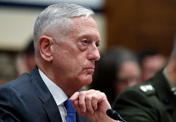 Defense Secretary Jim Mattis testifies before the House Armed Services Committee on Capitol Hill on April 12, 2018. Mattis said no decisions have been made on whether to attack Syrian military sites in response to a chemical weapons attack Syrian citizens last week. (Alex Brandon/AP)