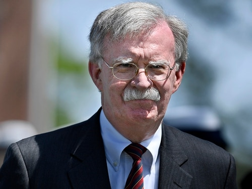 National Security Adviser John Bolton arrives to speak at the commencement for the United States Coast Guard Academy in New London, Conn., on May 22, 2019. (Jessica Hill/AP)