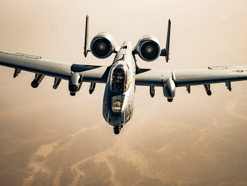 Air Force A-10 Warthogs were dispatched over Farah city, Afghanistan, Tuesday, in an attempt to prevent the city's fall to Taliban forces. (Tech. Sgt. Gregory Brook/Air Force)