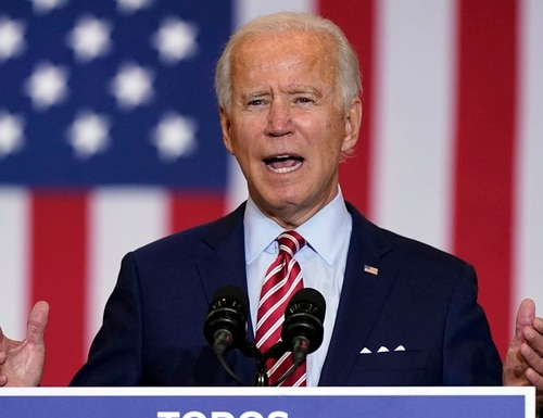 Democratic presidential candidate former Vice President Joe Biden speaks during a Hispanic Heritage Month event, Tuesday, Sept. 15, 2020, at Osceola Heritage Park in Kissimmee, Fla. (Patrick Semansky/AP)
