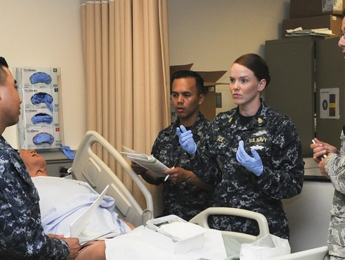 Immersion into Stroger's oftentimes hectic environment prepares corpsmen for the battlefield. Above, a nursing lab portion of the Basic Medical Technician Corpsman Program at Joint Base San Antonio-Fort Sam Houston. (PO1 Jacquelyn Childs/Navy)